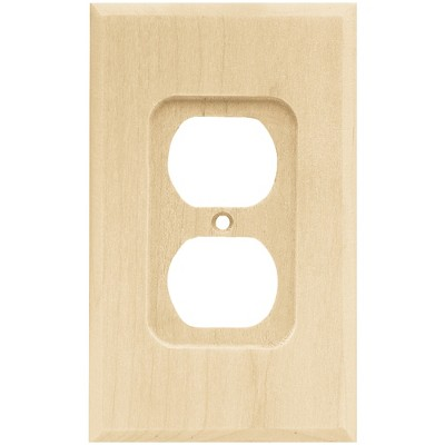 Franklin Brass Square Single Duplex Wall Plate Unfinished Wood Brown