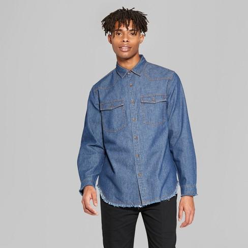 70e948d99b5 Men s Long Sleeve Raw Edge Denim Button-Down Shirt - Original Use™ Fighter  Pilot Blue