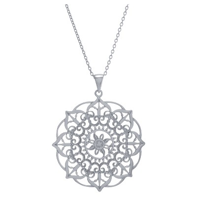 """Women's Sterling Silver Large Filigree Flower Pendant Chain Necklace (18"""")"""