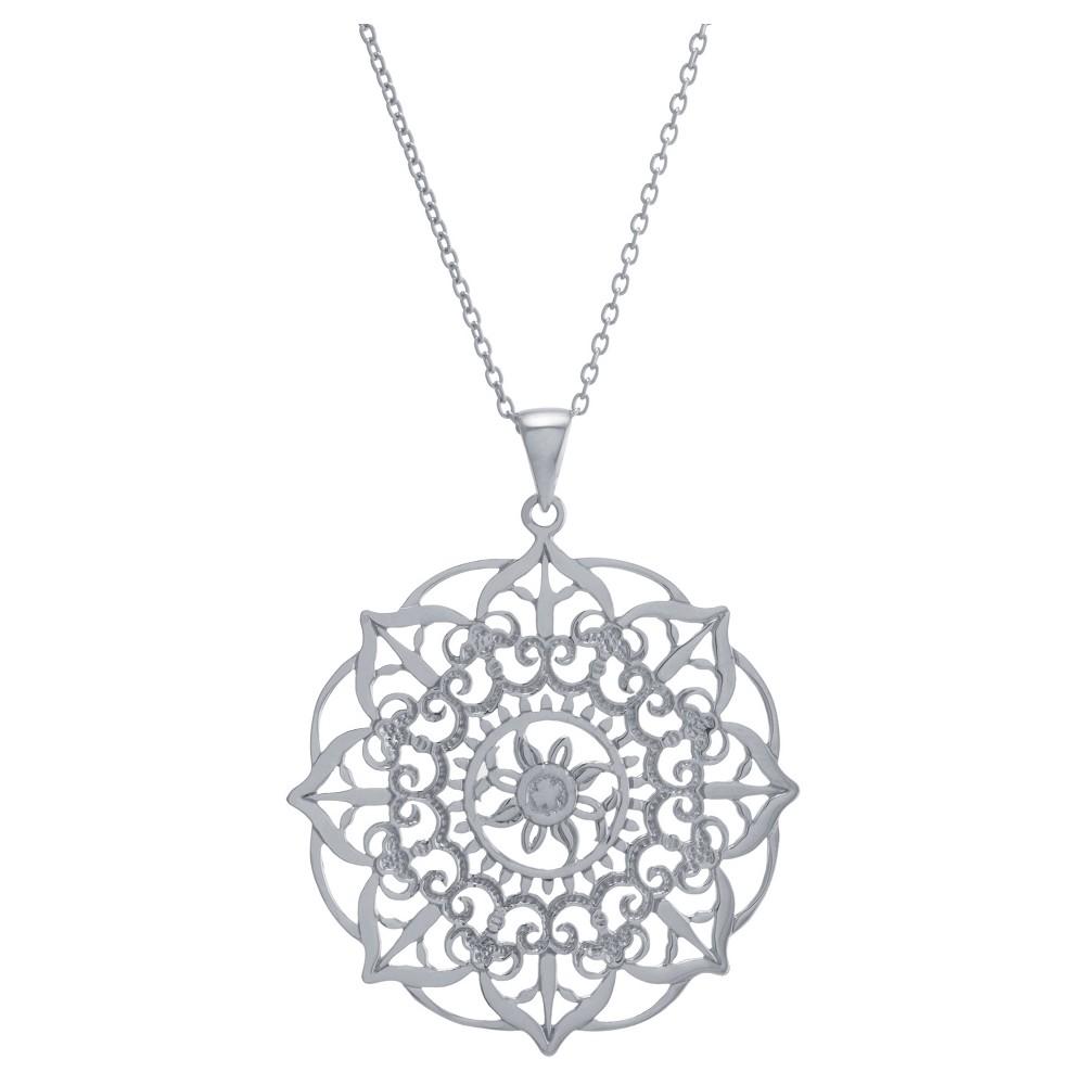 Women's Sterling Silver Large Filigree Flower Pendant (18)