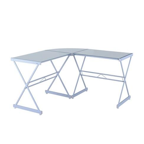 L Shaped Glass Computer Desk White, White Glass Computer Desk