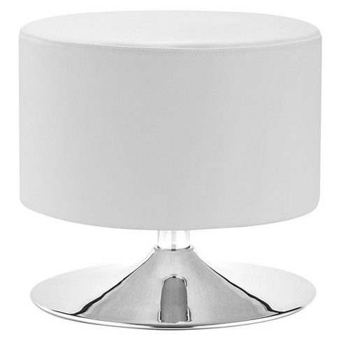 Modern Faux Leather and Chrome Ottoman - White - ZM Home - image 1 of 2