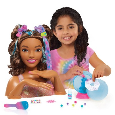Barbie Tie-Dye Deluxe Styling Head Brunette Hair with Blue Highlights
