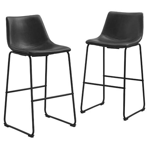 Astonishing Faux Leather Dining Kitchen Barstools Set Of 2 Black Saracina Home Beatyapartments Chair Design Images Beatyapartmentscom