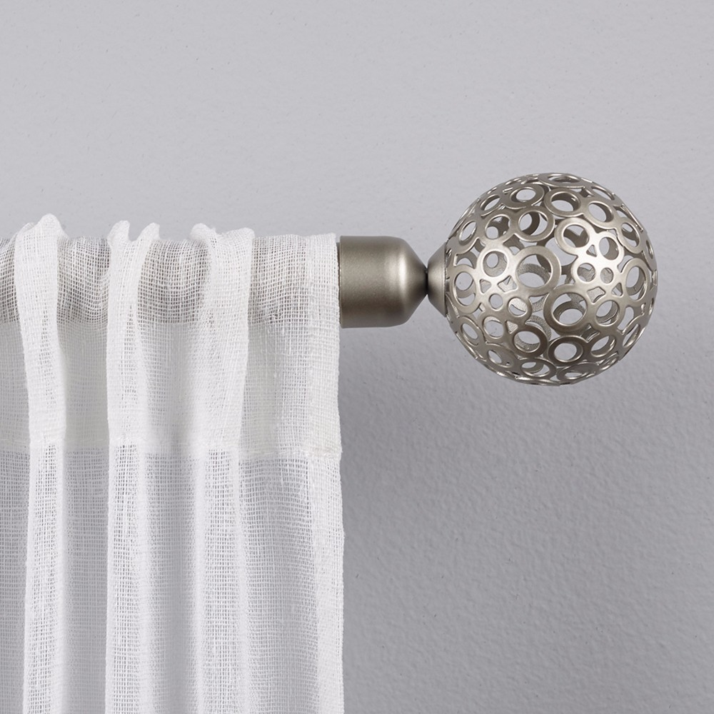 Globe 1 Curtain Rod and Coordinating Finial Set Matte Black Adjustable 3672 - Exclusive Home