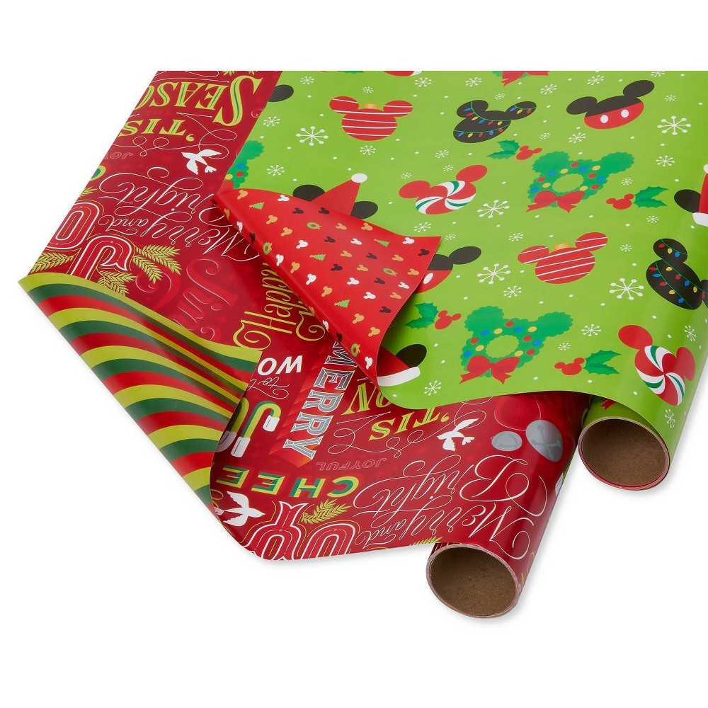 Image of 2ct Papyrus Christmas Mickey Reversible and Holiday Text Reversible Gift Wrap, Black