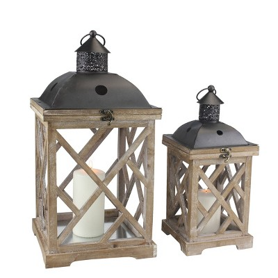 Set of 2 Wooden and Metal Hurricane Candles Lantern Brown - Stonebriar Collection