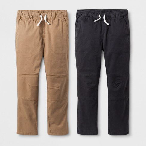 Boys' 2pk Pull-On Pants - Cat & Jack™ Charcoal Gray/Brown - image 1 of 2