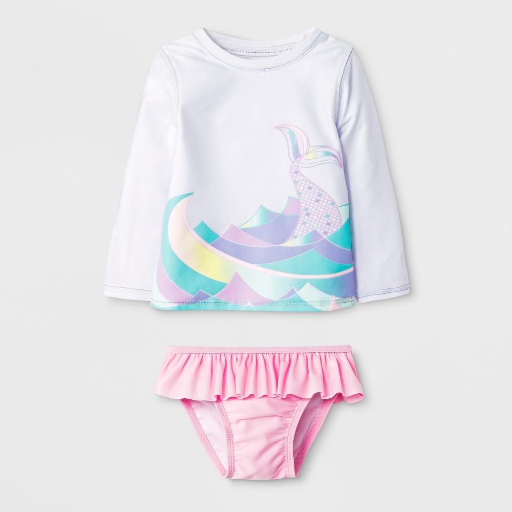 Baby Girls' Mermaid Tail Rash Guard Set - Cat & Jack White 12M