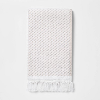 White Knotted Fringe Hand Towel - Threshold™