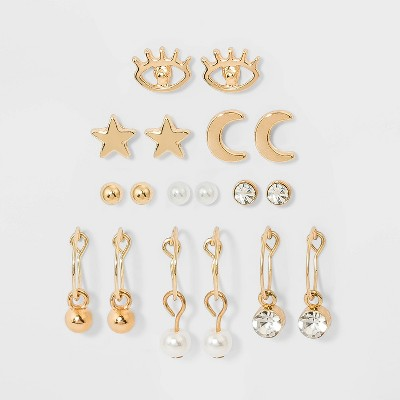 Star Evil Eye Cresent Moon and Hoop Multi Earring Set 9pc - Wild Fable™