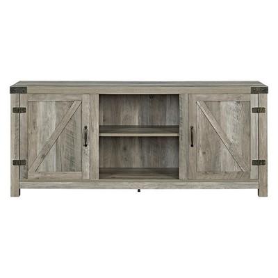 58  Barn Door TV Stand with Side Doors - Gray Wash - Saracina Home