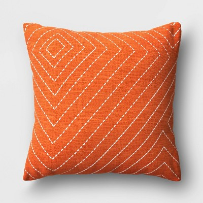 Diamond Stitched Square Throw Pillow Rust - Project 62™