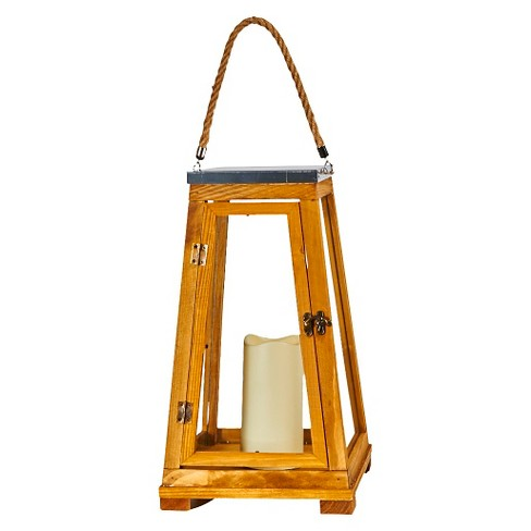 """Smart Living Newport 15"""" LED Candle Outdoor Lantern - Natural Wood - image 1 of 3"""