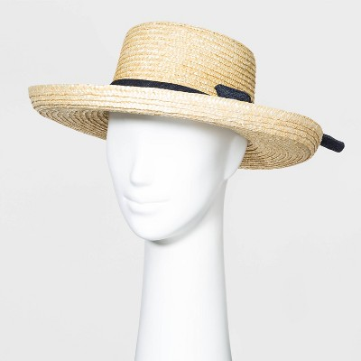 Women's Wheat Straw Kettle Hats - A New Day™ Natural One Size