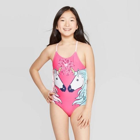 Girls' Unicorn Love One Piece Swimsuit - Cat & Jack™ Pink - image 1 of 3
