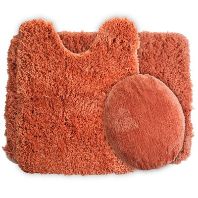 Solid Super Plush Non-Slip Bath Mat Rug Set 3pc Rust - Yorkshire Home