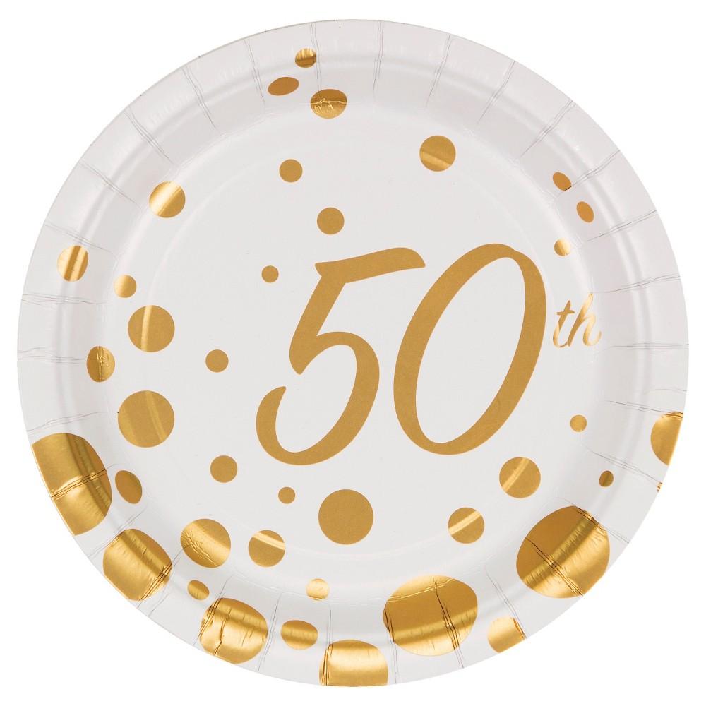 Sparkle and Shine Gold Foil 50th Anniversary 7 Dessert Plates - 8ct