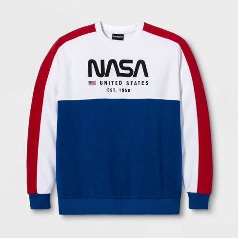 Men's NASA Long Sleeve Crew Fleece Graphic T-Shirt - White - image 1 of 1