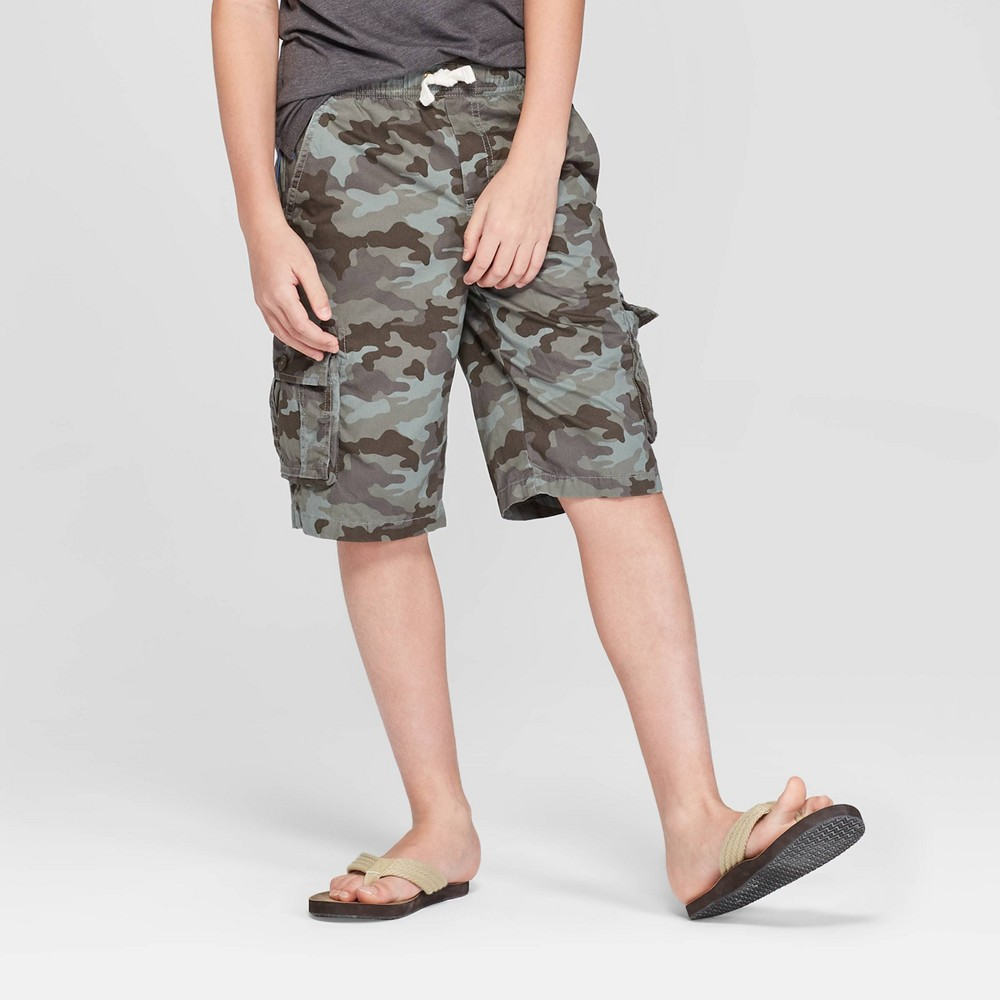 Image of Boys' Pull-On Cargo Shorts - Cat & Jack Green L, Boy's, Size: Large