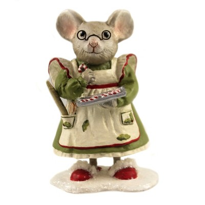 """Christmas 4.75"""" Mama Mouse Candy Cane Apron Kitchen  -  Decorative Figurines"""