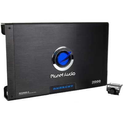Planet Audio AC2000.2 Anarchy 2000 Watt 2 Channel Class A/B Full Range 2 Ohm Stable Car Audio Amplifier with MOSFET Power Supply and Remote Control