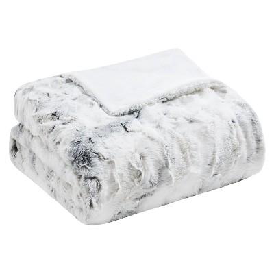 Grey Aina Oversized Faux Fur Throw Blankets 60 x70