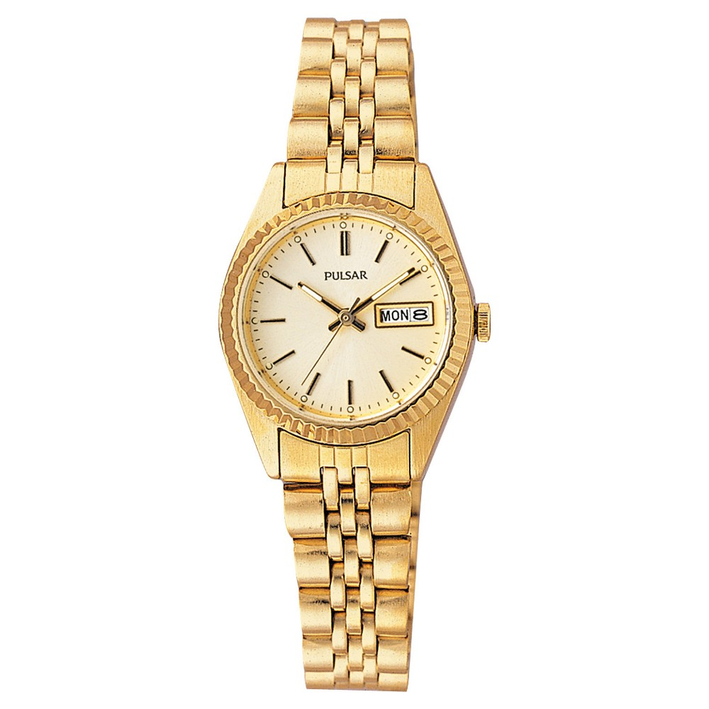 Women's Pulsar Functional Calendar Watch - Gold Tone with Champagne Dial - PXX004