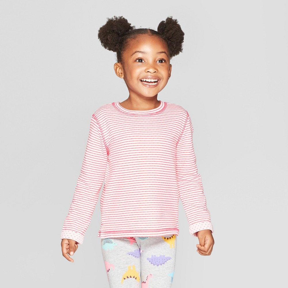 Toddler Girls' Long Sleeve Striped T-Shirt - Cat & Jack Pink 3T, Red