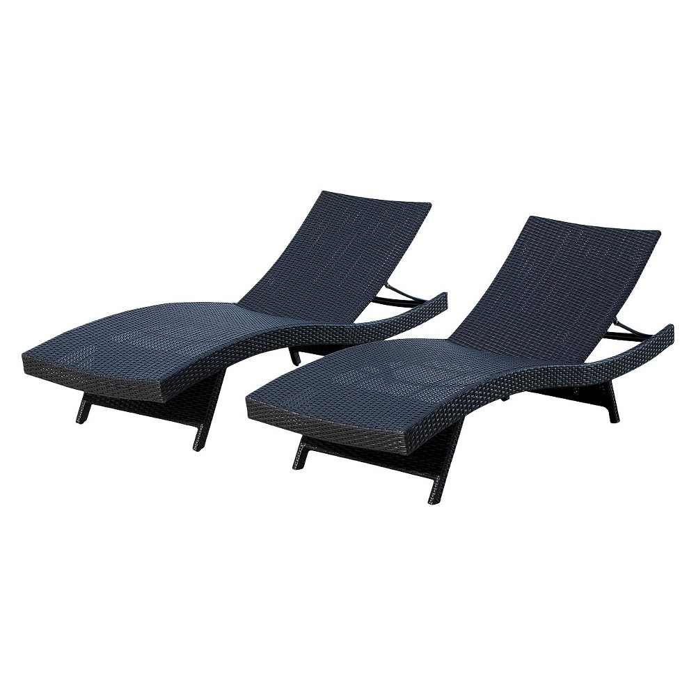 Manchester Outdoor Adjustable Wicker Chaise (Set of 2) Black - Abbyson Living