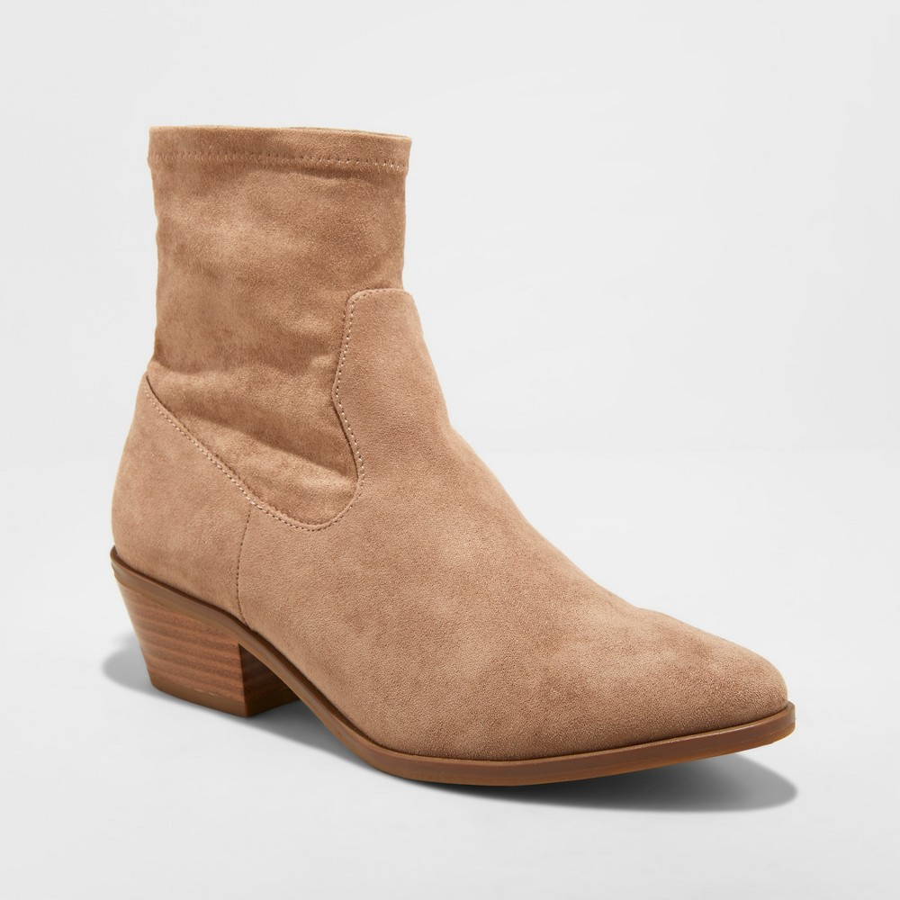 Women's Loraine Microsuede Western Sock Booties - Universal Thread Tan 9.5
