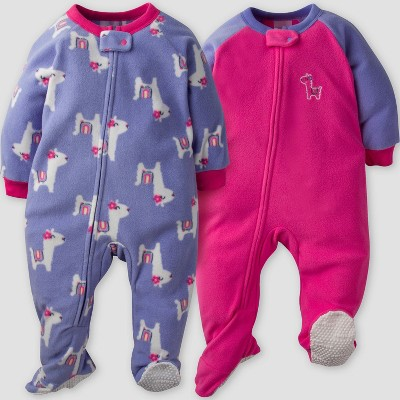 Gerber® Baby Girls' 2pk Llama Micro Fleece Blanket Sleeper - Pink/Purple 6-9M