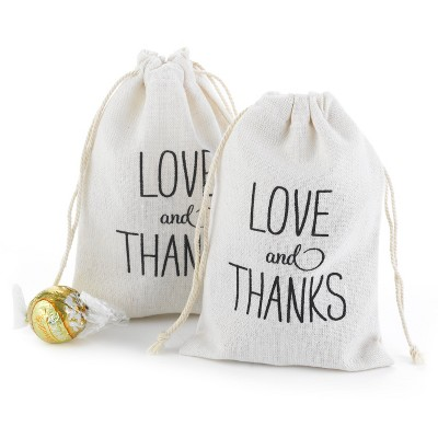 25ct Love and Thanks Cotton Favor Bags