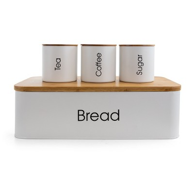MegaChef Bamboo Kitchen Countertop 4 Piece Metal Bread Basket and Canister Set in Gray with Lids