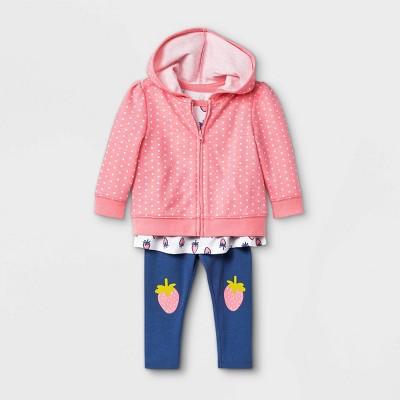 Baby Girls' 3pc Strawberry Hoodie Top & Bottom Set - Cat & Jack™ Pink