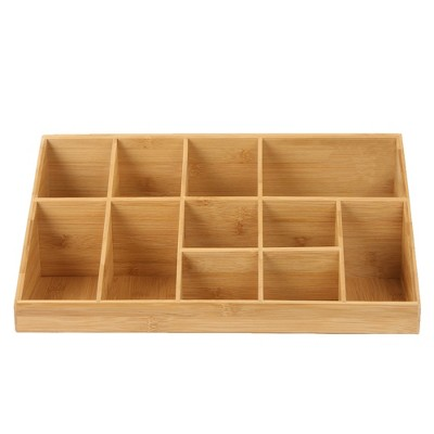 Mind Reader 11 Compartment Coffee Condiment Organizer, Brown Bamboo