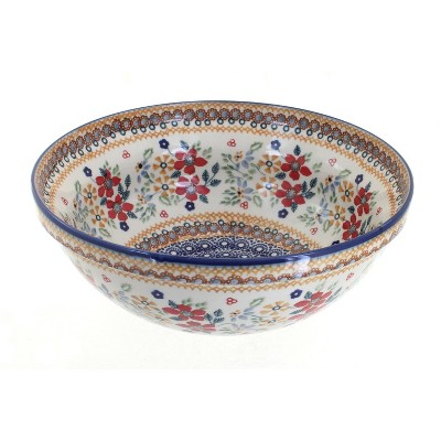 Blue Rose Polish Pottery Red Daisy Large Serving Bowl