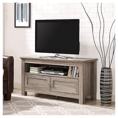 44  Wood TV Media Stand Storage Console - Driftwood - Saracina Home