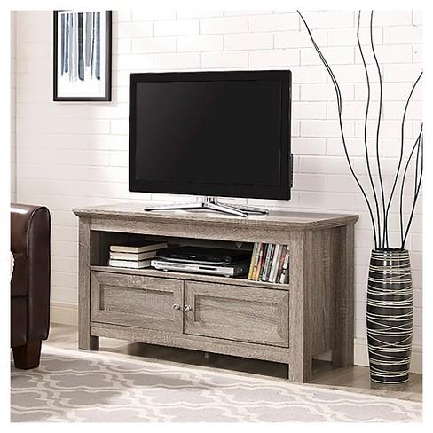 44 Wood Tv Media Stand Storage Console Driftwood Saracina Home Target
