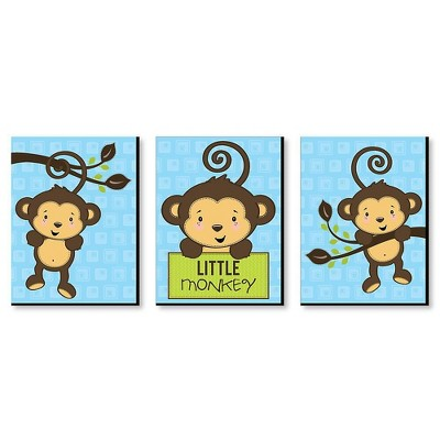 Big Dot of Happiness Blue Monkey Boy - Baby Boy Nursery Wall Art and Kids Room Decorations - Gift Ideas - 7.5 x 10 inches - Set of 3 Prints