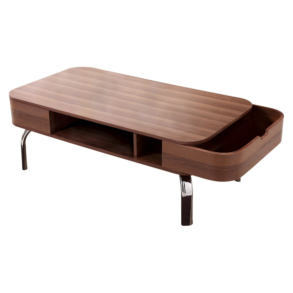 Kathrine Mid-century Inspired Storage Coffee Table Walnut - Homes: Inside + Out, Dark Brown