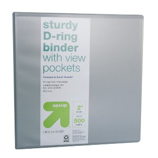 """2"""" 3 Ring Binder Clear View Gray (Compare to Avery® Durable™) - Up&Up™"""