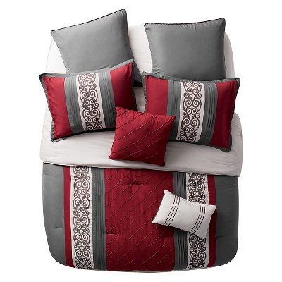 Red&Gray Farion Pleated Scroll Comforter Set (Queen)8 Piece - VCNY