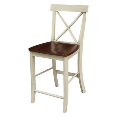 """24"""" X Back Armless Counter Height Barstool - Antiqued Almond/Espresso - International Concepts"""