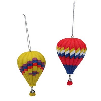 """Ganz Set of 2 Red and Yellow Hot Air Balloons Christmas Ornaments 3.75"""""""