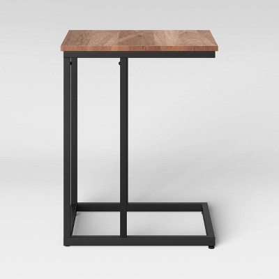 Greenwich Square Wood Top C Table with Black Metal Base Natural - Threshold™