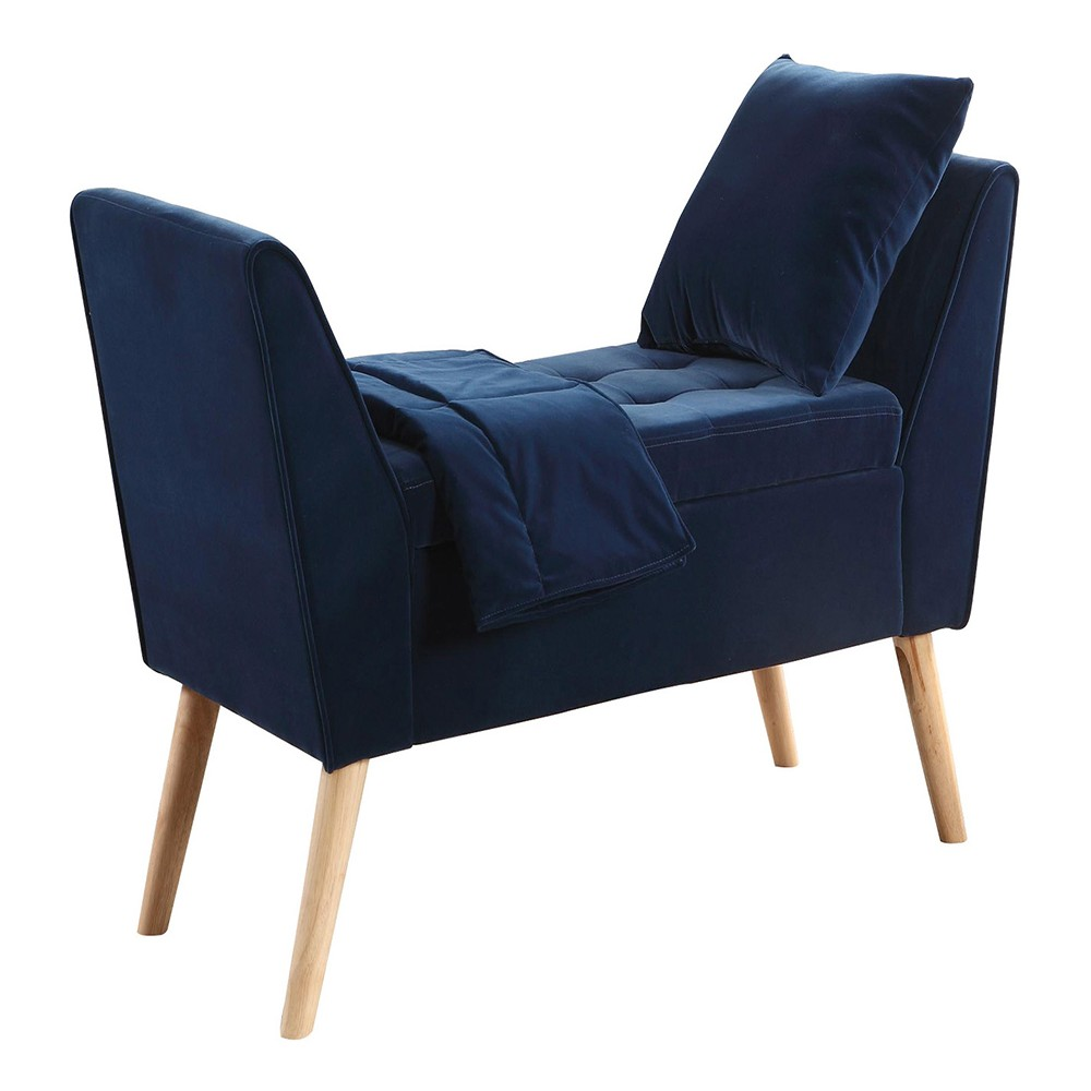 Storage Bench with Pillow & Blanket 27 - Navy Blue - Ore International