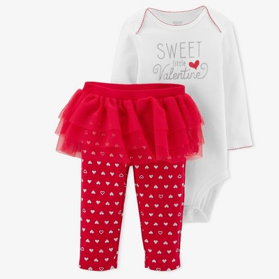 Baby Girls' Sweet Little Valentine 2pc Tutu Set - Just One You® made by carter's White/Red 3M