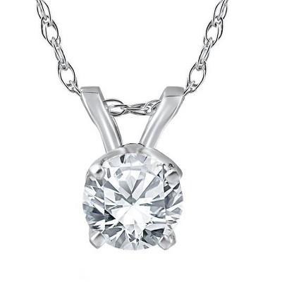 "Pompeii3 1/2 ct Solitaire Round Diamond 14k White Gold Pendant & 18"" Chain"
