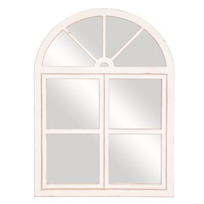 39 x29  Rustic Farmhouse Arch Windowpane Wall Mirror White - Patton Wall Decor